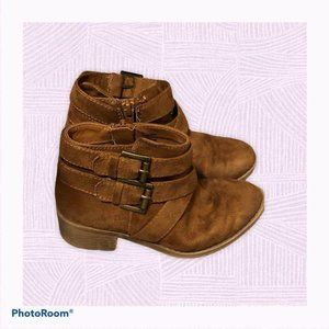 Cat & Jack Girls Buckle Zip Up Heeled Ankled Boots